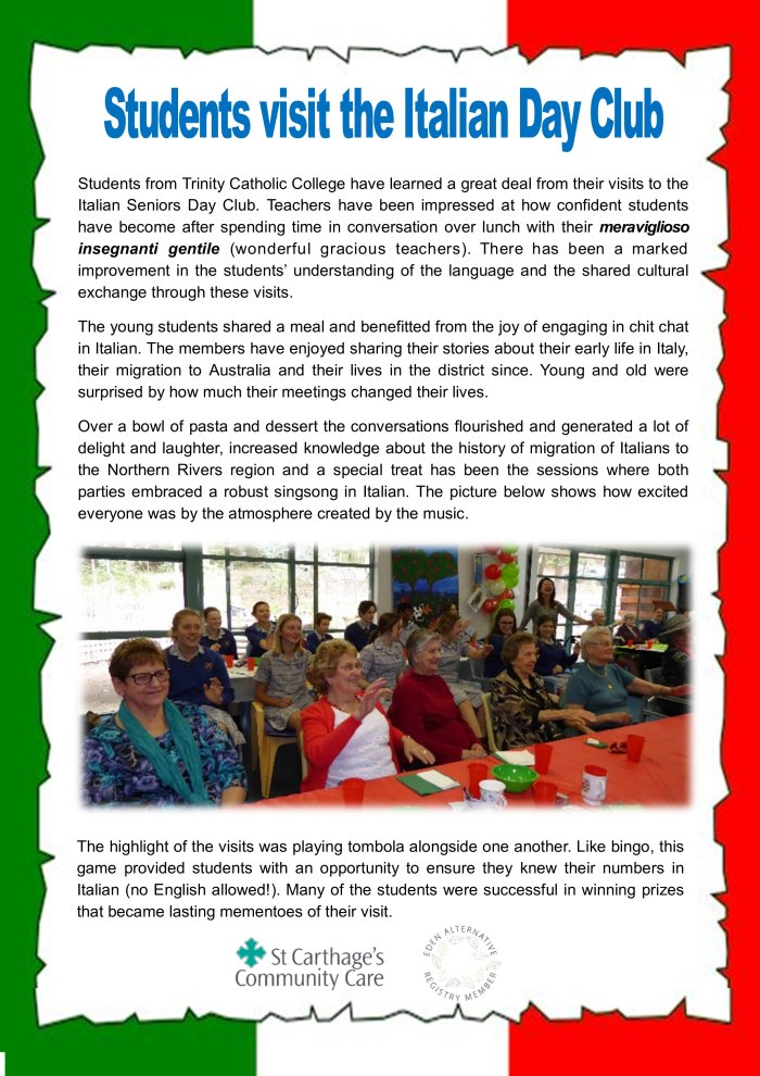 17 Students visit the Italian Day Club by Ros Derrett
